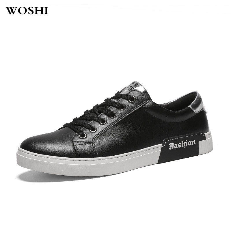 Black Homme Respirant Mode De Cuir Lace Véritable Up Chaussures Marche 5 Confortable En Casual white Hommes Automne Appartements 1wapSafq