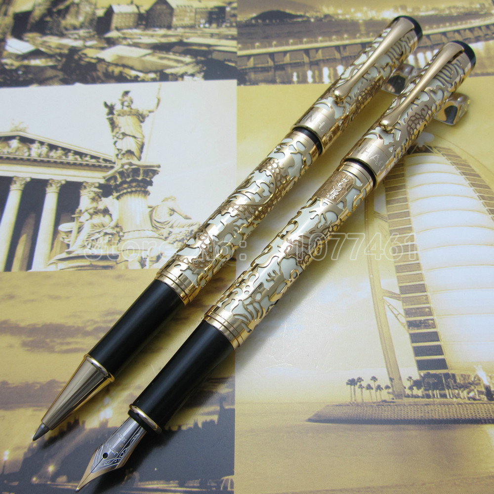 2PCS Jinhao Embossed golden dragon Pen High Quality Fountain Pen and Roller ball pen White Orange Optional J55KE3 jinhao a200 chinese double dragons playing with the pearl beautiful advanced roller ball pen