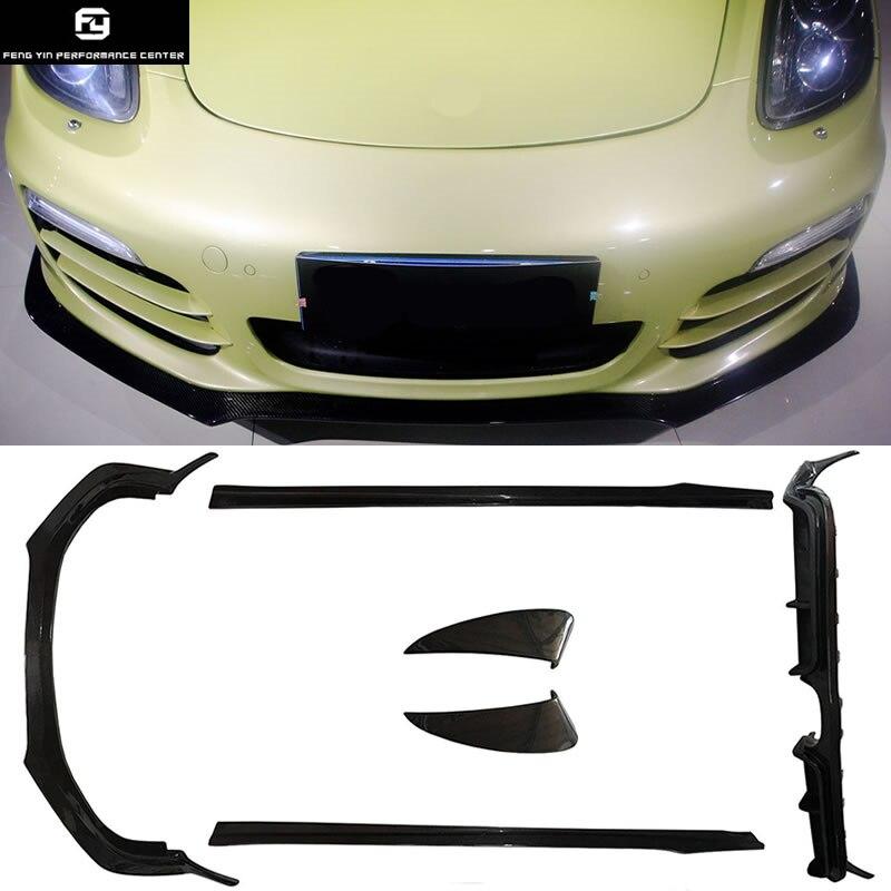 981 fibra de carbono frontal labio trasero difusor faldas laterales entrada de aire lateral para Porsche Boxster 981 12-14