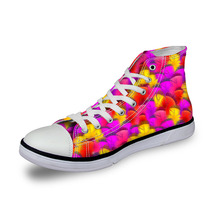 Noisydesigns ladies vintage high top sneakers girls casual lace up vulcanized Women 3D colorful bird feather  print flat canvas