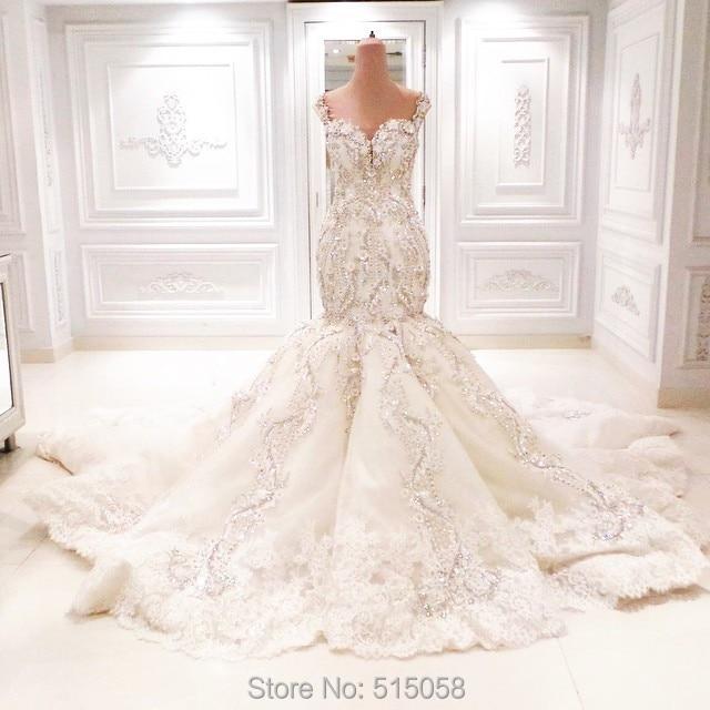 fully crystal beaded sweetheart open back mermaid wedding