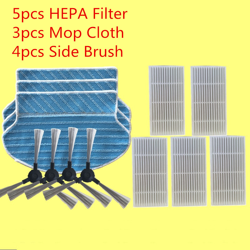 5pcs hepa filter + 4pcs Side Brushes+ 3pcs Mop Cloth Robot Vacuum Cleaner Parts HEPA Filter for Proscenic 790T