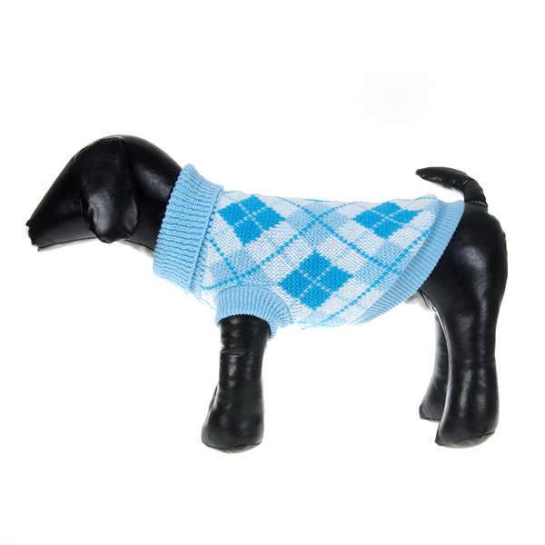 Свитера для домашних собак кошка теплый трикотаж ромбиками зимний свитер маленький щенок пальто одежда XS-XXL
