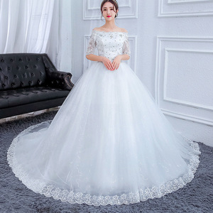 Image 4 - Gorgeous Wedding Dresses Ball Gown Boat Neck Beaded Lace Crystal Formal Bride Dresses With Sweep Long Train Vestidos De Novia