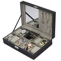 Box for Watch Jewelry 8 Watches 2 Lattice Rings Multi function Caixa Para Relogio Wood Black