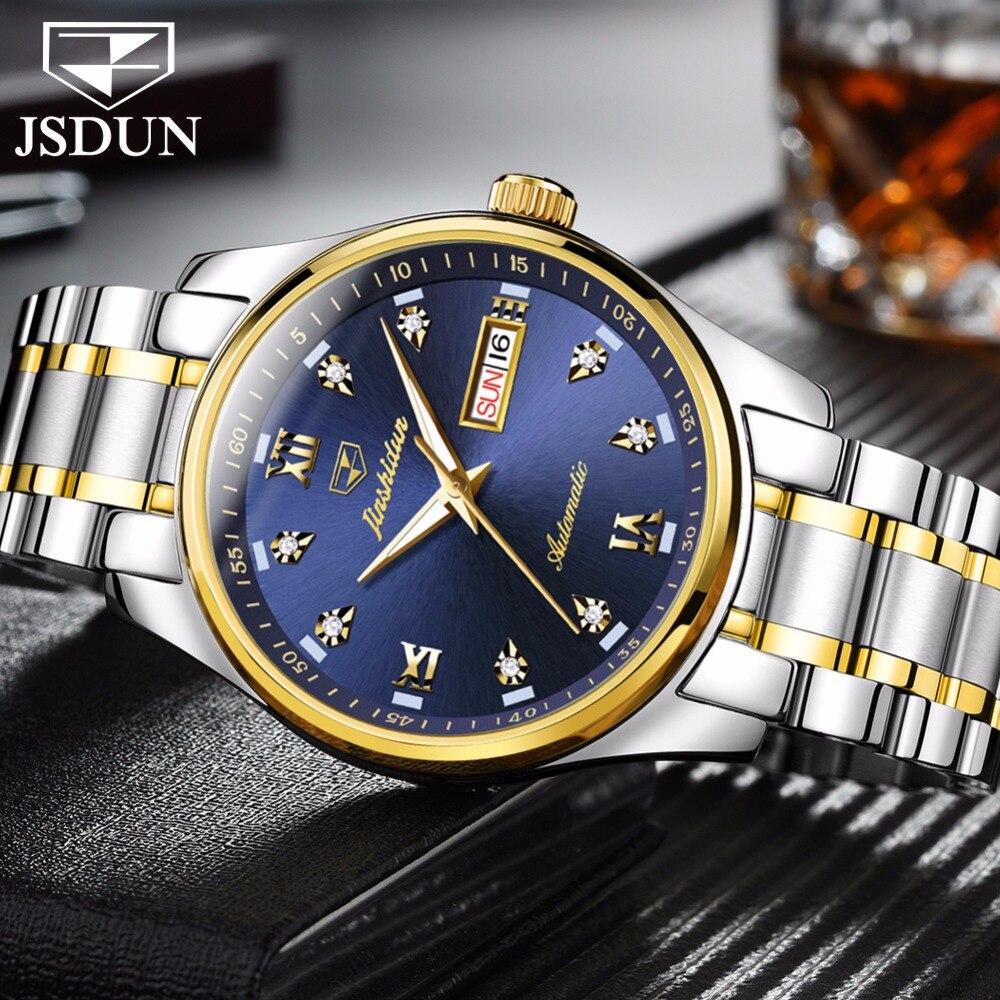 Machines de luxe montres pour hommes sont à la mode en acier étanche montre automatique hommes automatique Date semaine lumineux aiguilles horloge relogio