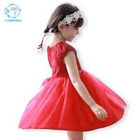 Red Dress Evening Rhinestone Crystal Bridal Belt Dress Summer Neck Short Sleeve Girls Dresses For Party