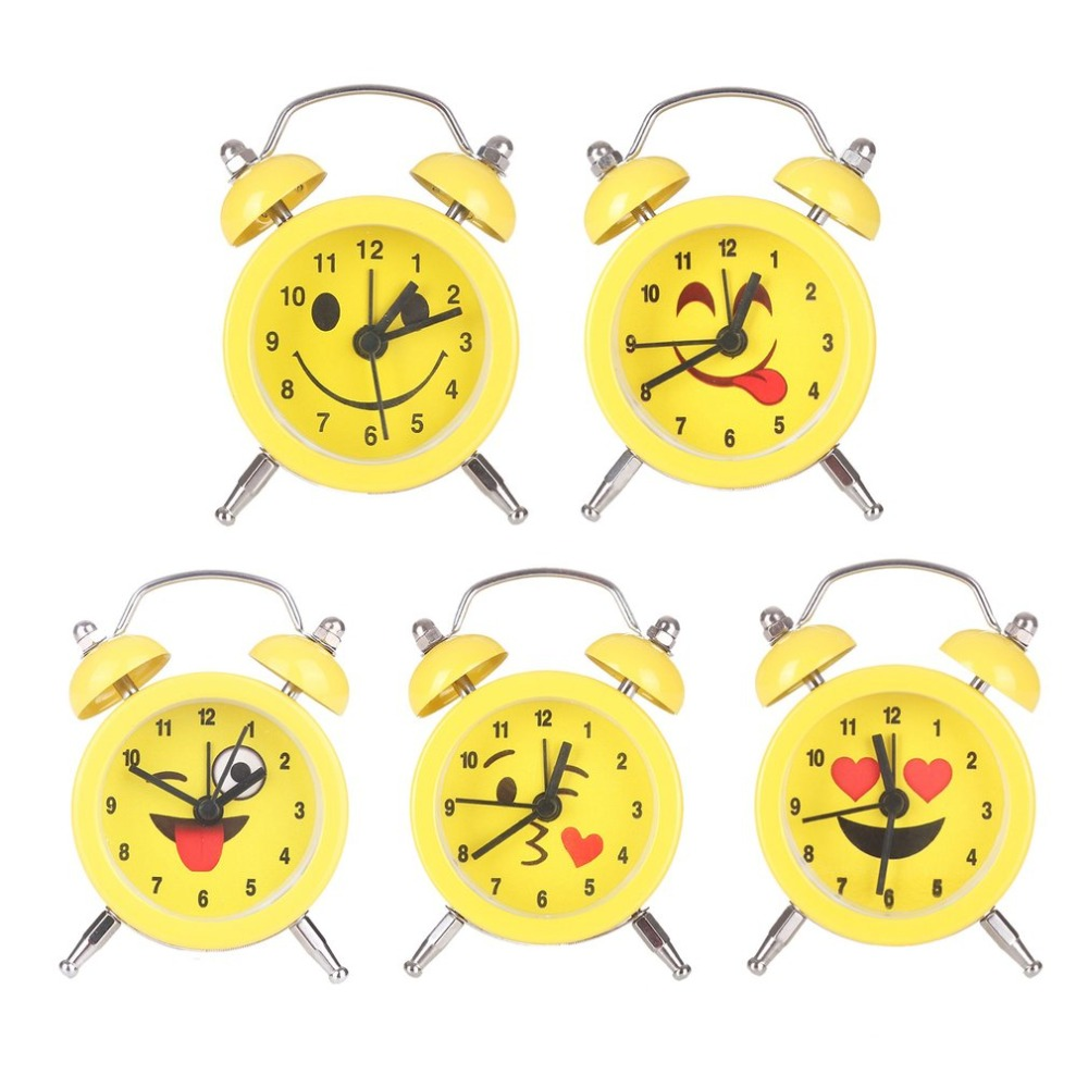 Fashion Small Size Lovely Cute Facial Expression Alarm Clock Quartz Movement Home Bedside Desk Alarm Clock for Children