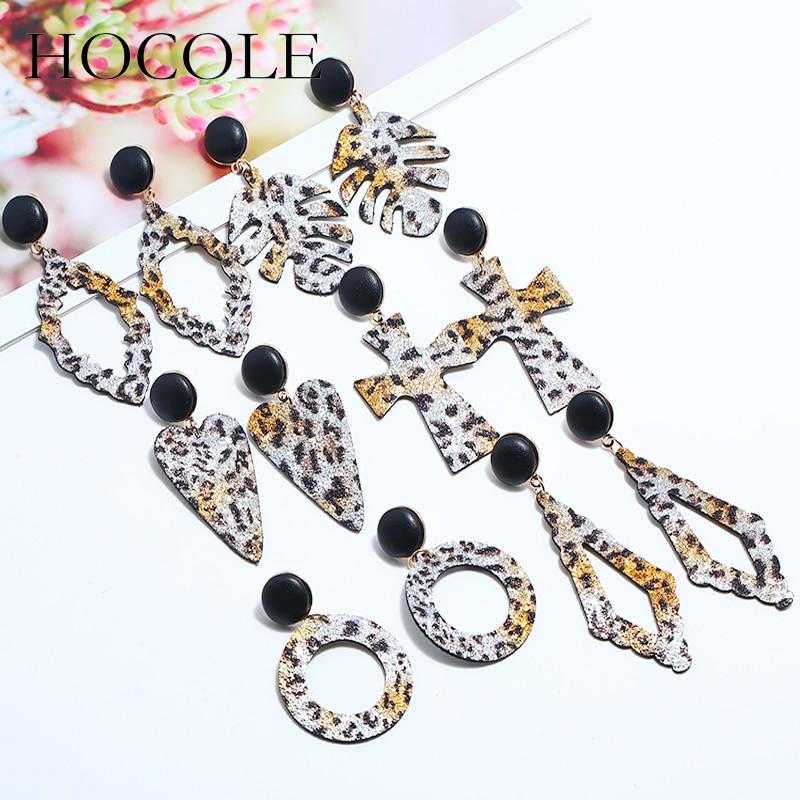 HOCOLE Vintage Tiger Leather Large Long Drop Earrings Korean Leaf Round Cross Heart Pendant Statement Earrings For Women Jewelry in Drop Earrings from Jewelry Accessories
