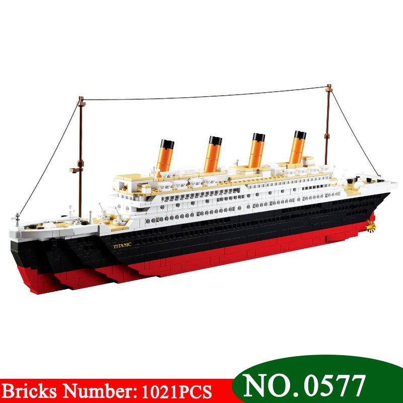 1021 pcs AIBOULLY B0577 Blocos de Construção de Brinquedo Navio de Cruzeiro RMS Titanic Navio Barco 3D Modelo brinquedos Presente Educacional Toy Presente