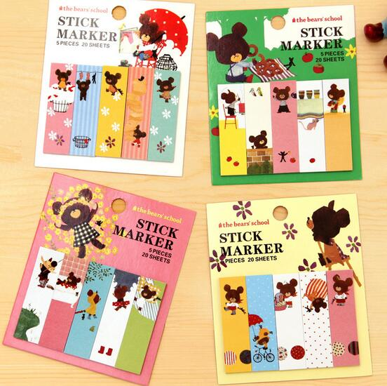 1pcs/lot New happy bear Notepad sticky marker note Memo label kawaii diy message post it