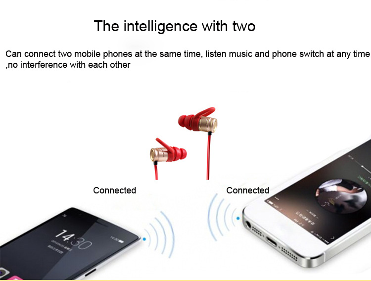 Magnetic Bass Stereo Waterproof Earbuds Wireless Bluetooth Running Earphone With Mic Smart Mobile Phone Headset For Android Ios