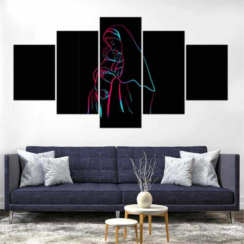 壁アートワークモジュラー絵画 5 パネルクリスチャン聖イエス写真の Hd プリント家のポスター装飾のためのキャンバス