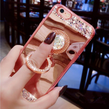For iPhone 7 Case Cover Luxury Girls Women Diamond Glitter Mirror Case With 360 Phone Ring Stand Soft Case For iPhone 6S Plus 5S