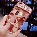 Para iphone 7 case luxo meninas mulheres diamante glitter espelho case com 360 anel fique soft case telefone para iphone 7 6 6 s plus 5S