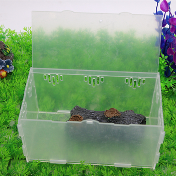 Crystal Acrylic pet cage,reptile,amphibian,insect, small animal habitat feeding box,10*10*20 cm 3
