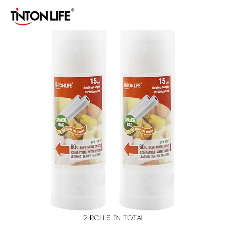 TINTON LIFE 15cm*500cm 2 Rolls/set Vacuum Sealer Storage Bags Grade For Sous Vide And Foodsaver
