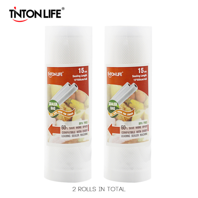 VIDA TINTON 15 cm * 500 cm 2 Rolos/set Aferidor Do Vácuo Sacos de Armazenamento de Grau para Sous Vide e foodsaver