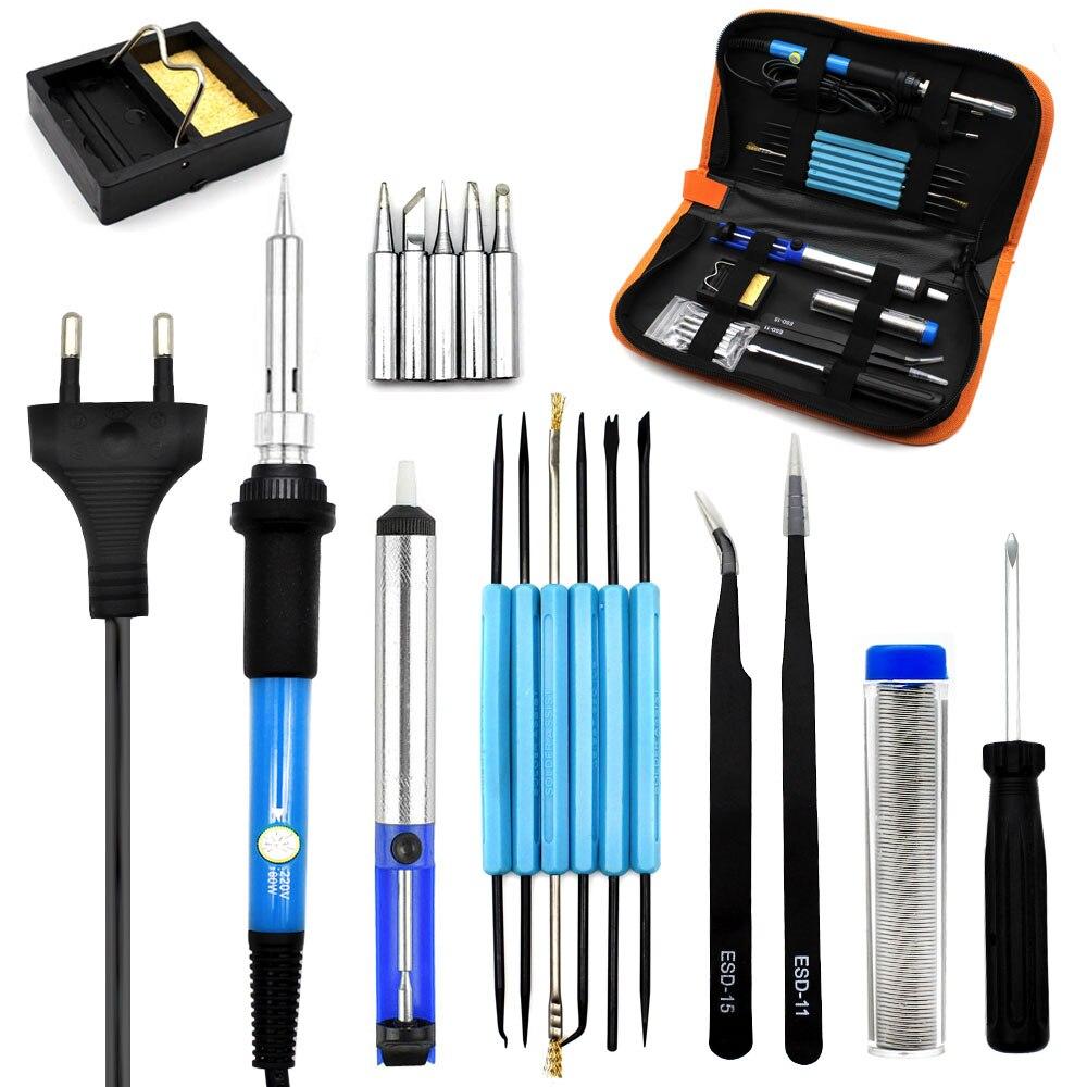 eu plug 220v 60w adjustable temperature electric soldering iron kit 5pcs tips portable welding. Black Bedroom Furniture Sets. Home Design Ideas