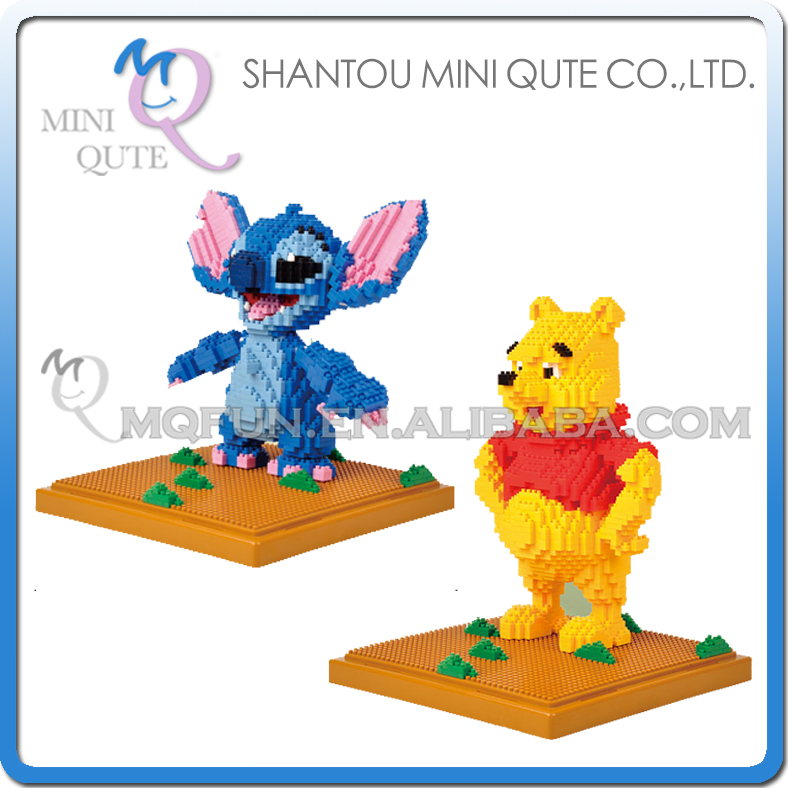 Mini Qute LNO Kawaii Anime cartoon kawaii kids Winnie Stitch plastic movie building blocks brick model figures educational toy