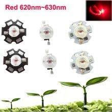 3 5 10 20 50 100 шт. 1 Вт 30mil 3 Вт 45mil ярко-красный 620nm ~ 630nm LED бисера светодиод для растений растут чип с 20 мм/16 мм плиты