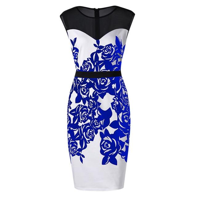 US $12.99 40% OFF|Kenancy 5XL Plus Size Flower Print Mesh Panel Work Dress  For Women Sleeveless Knee Length Modest Dresses Work Dresses-in Dresses ...