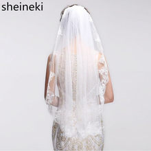 2019 Velos de Noiva Short One Layer Lace Edge White Ivory Wedding Veil Tulle Bridal Veil Cheap Wedding Accessories Voile Mariage(China)