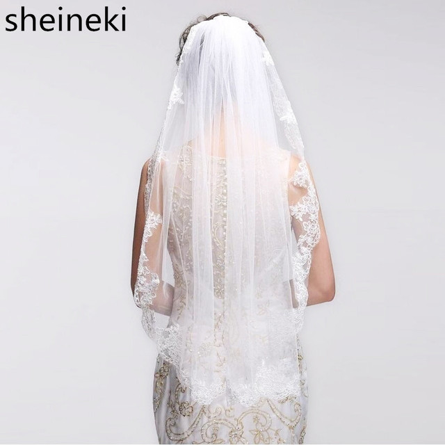 8b31bdda11 2019 Velos de Noiva Short One Layer Lace Edge White Ivory Wedding Veil  Tulle Bridal Veil Cheap Wedding Accessories Voile Mariage