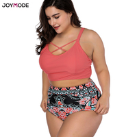 JOYMODE Retro Two Piece Bikini High Waist Women Fat Bathing Suit Plus Size 4XL Wired Push Up Swimsuit 2018 Bath Suit Swimwear
