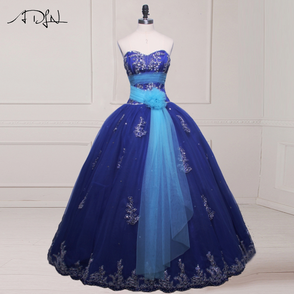 ADLN Real Photo Vestidos De 15 Sweetheart Beaded Applique Quinceanera Dress Gowns 2017 Royal Blue Gowns