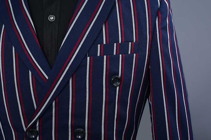 PYJTRL ブランドメンズファッションブルーストライプブレザーパンツツーピース付添人のウェディングスーツメンズスーツ最新コートパンツのデザイン 2018