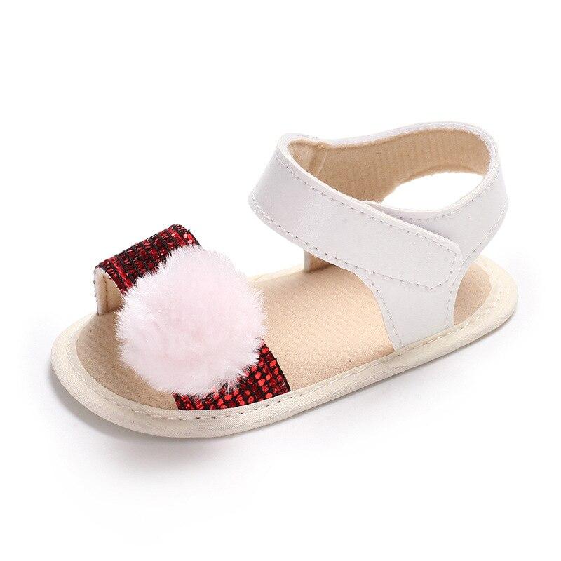 0-18Month Baby Girls Sandals Fur Ball 2018 summer Infant Girls bling PU Sandals Newborn Baby Crib Shoes Soft Sole baby sandals