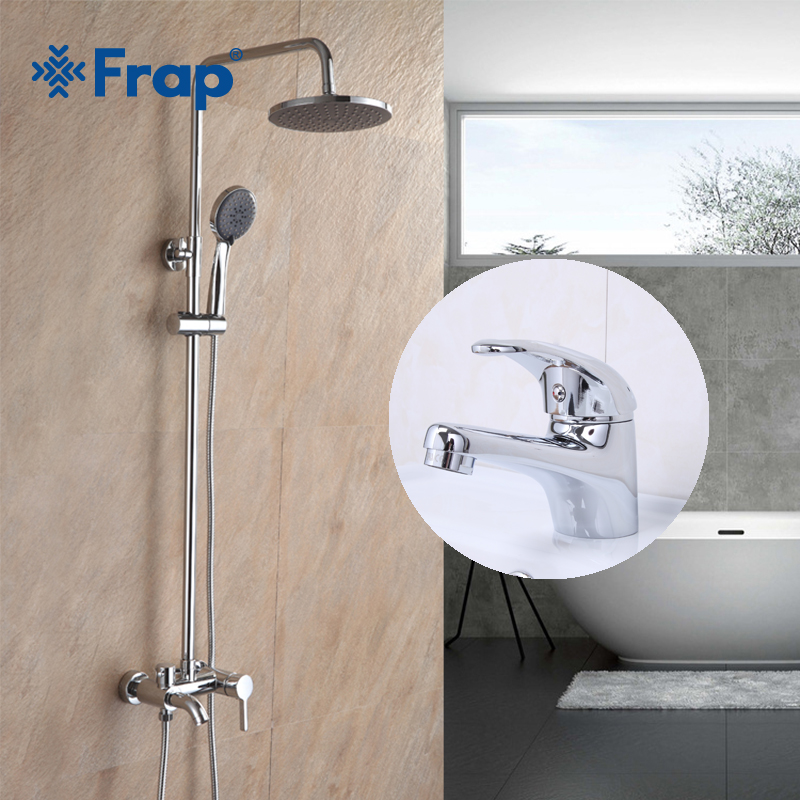 Frap Bathroom Shower Faucet Hand Sprayer Wall Mounted with chrome Basin Faucet Deck Mounted Cold and Hot Water Mixer F2416+F1003 стоимость