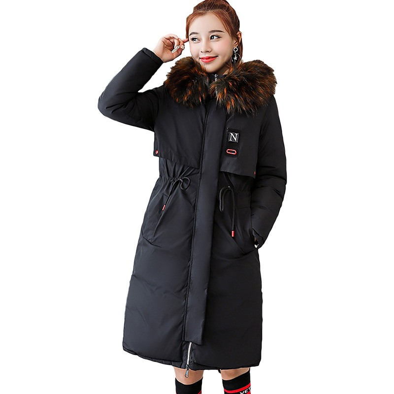 Two Side Wear Cotton Coats 2018 New Winter Hooded Long Down Cotton Jackets Women Warm Thicken Padded Parkas Female Outerwear