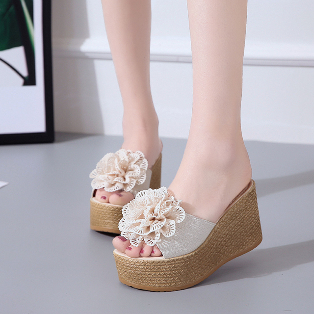 8f6a200d637a women platform slippers wedges shoes for women wedge slippers designer  slides off white shoes loafers mules slide sandal fashion
