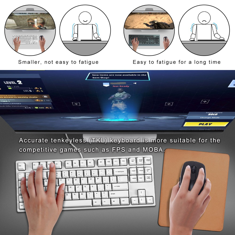 <font><b>Mechanical</b></font> <font><b>Keyboard</b></font> <font><b>TKL</b></font> 87-Key [Cherry MX Blue Switch] Gaming <font><b>Keyboard</b></font> for Office Typist/Gamer PC Tablet Desktop - QWERTY-Layout image
