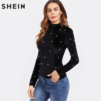SHEIN Pearl Detail Slim Fit Velvet Tee Autumn Casual Long Sleeve T Shirt Women Black High
