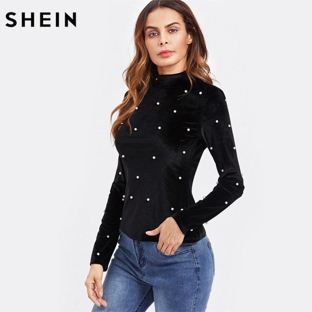 28760de6a8f SHEIN Pearl Detail Slim Fit Velvet Tee Autumn Casual Long Sleeve T shirt  Women Black High
