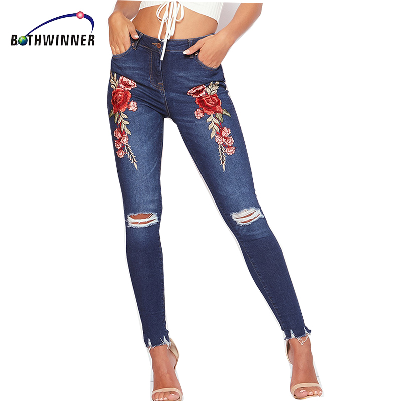 Bothwinner Stretch Embroidered Jeans For