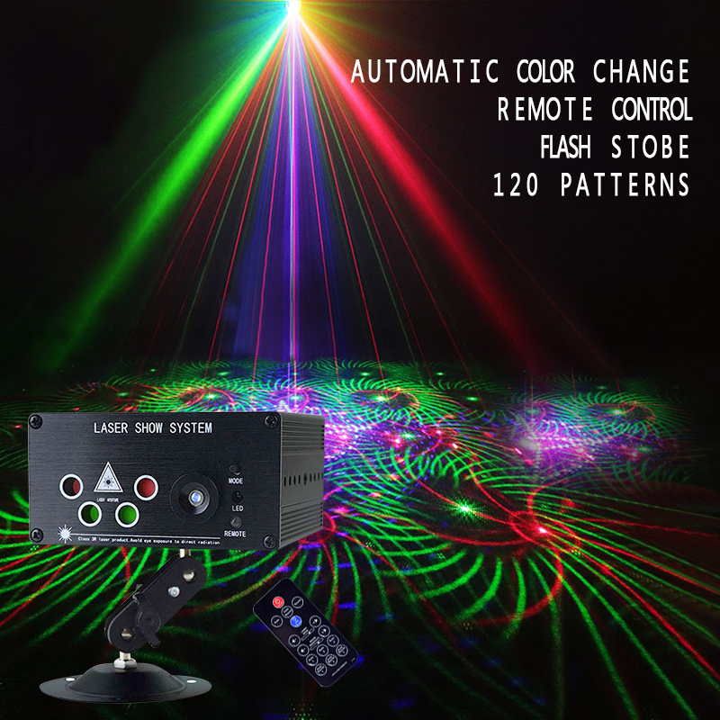 5 hole 120 Patterns Laser Projector Sound/Remote Controll LED Disco Light RGB Bar Club DJ Party DMX Stage Light Sound Activated