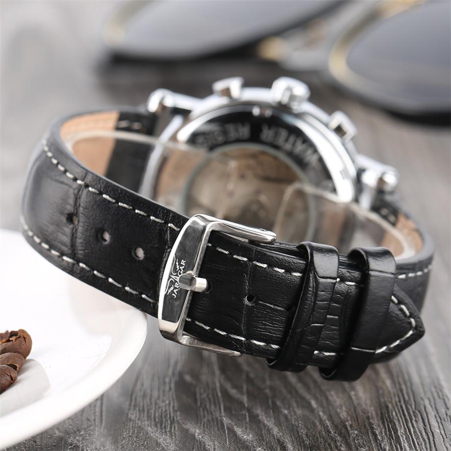 JARAGAR black genuine leather band mechanical watch men23