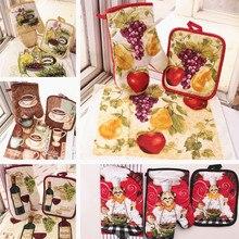 Europäischen stil 100% Baumwolle Küche Obst Kaffee Designs Topflappen Topflappen Handtücher Wie Küche Werkzeug Geschenk Set Backformen