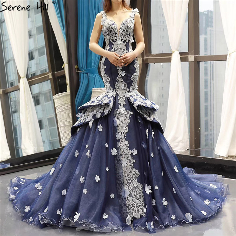 Blue Wedding Dresses 2019: Aliexpress.com : Buy Navy Blue Handmade Flowers Mermaid