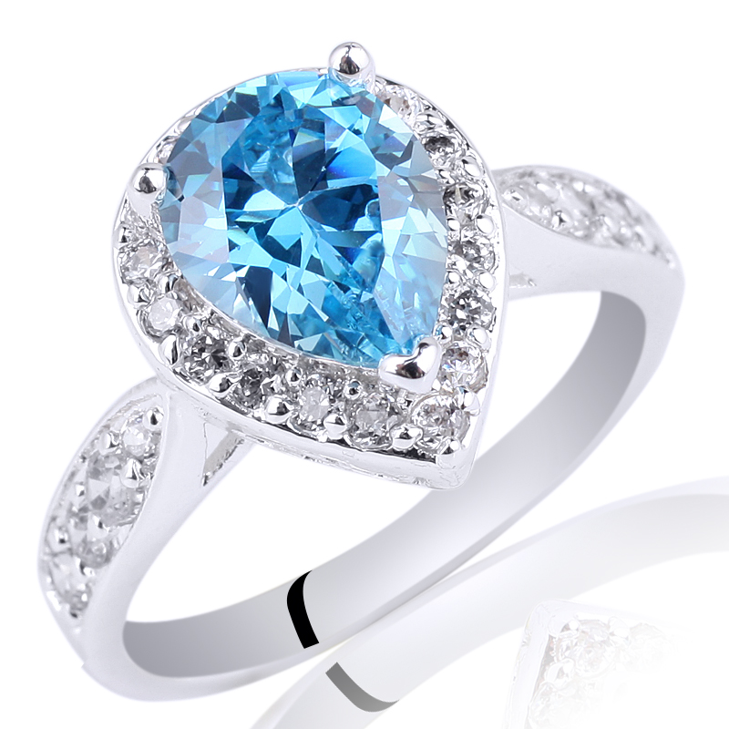 Rhodium Plated Authentic Promise 925 Sterling Silver Ring Pear Cut Stone Jewelry R079 Si ...