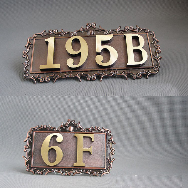 2 numbers Customize DIY Doorplate Vintage Brass Copper House Numbers ...