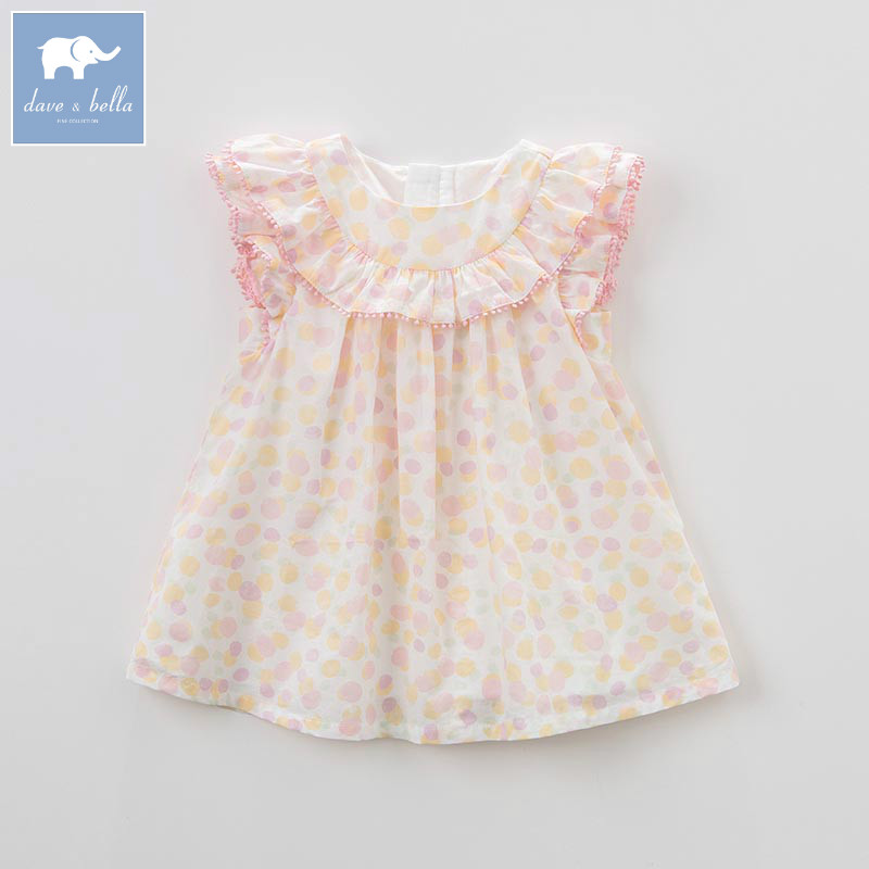 DBZ7437 dave bella summer baby girls princess color dot dress children birthday party wedding dress kids infant lolital clothes db1553 dave bella summer baby dress infant clothes girls party dress fairy dress toddle 1 pc kid princess dress