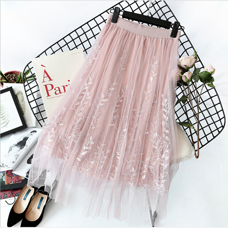 Floral Embroidery A-line Tutu Lace Mesh Skirt Women Elegant Tulle Long Pleated Skirt Women Midi Skirt Summer Hot Sale 8