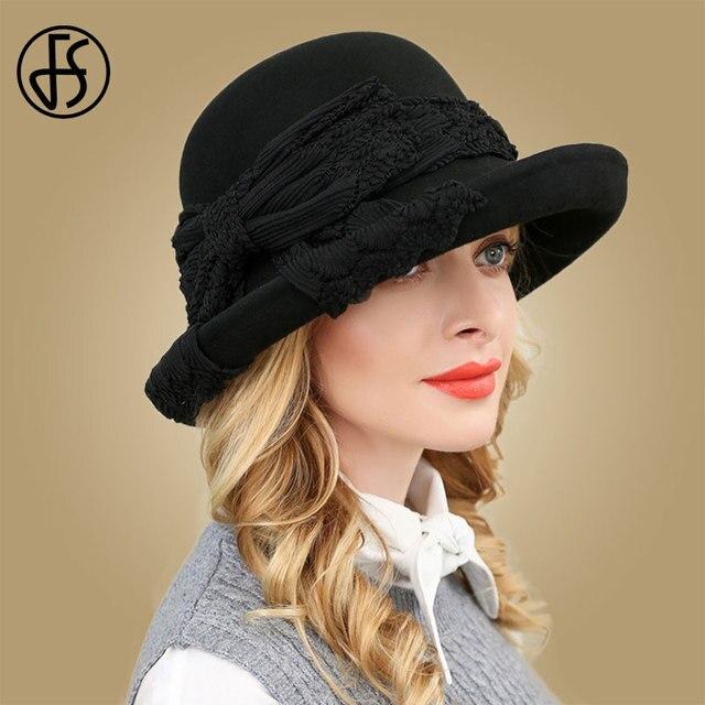 100/% Wool Wide Brim Winter Autumn Floppy Felt Trilby Bowknot Fedora Hat for Elegant Womem Ladies Top Cloche Hat-Bleu