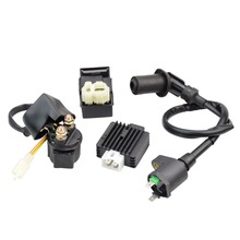 цена на GOOFIT Ignition Coil CDI Solenoid Relay Voltage Regulator for GY6 50cc 125cc 150cc ATV Scooter Moped P038-415