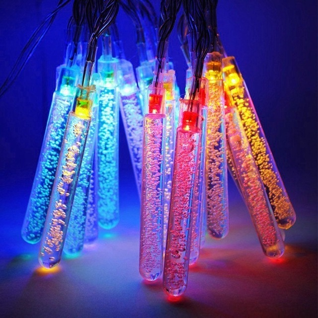 4.8 M 0.6 W Burbuja Carámbano Llevó La Luz de la Energía Solar 20 LED Luz de la Secuencia de Hadas de Luz Al Aire Libre Jardín Fiesta de Navidad decoración de La Lámpara